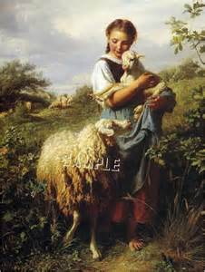 Details about victorian shepherdess girl sheep lamb canvas art large
