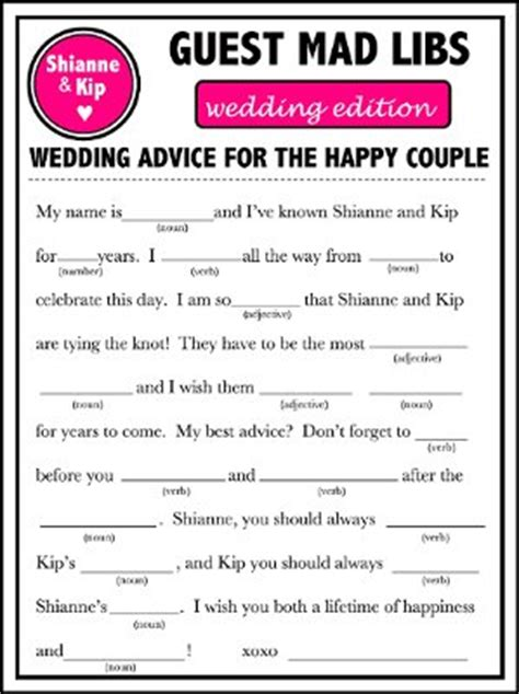 mad libs template wedding mad libs template