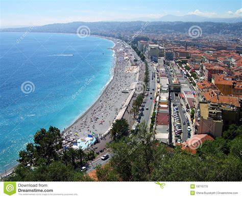 House Plans Mediterranean Nice City Beach Panoramic View France Stock Photo Image