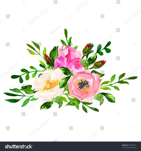beautiful floral hand drawn watercolor bouquet stock