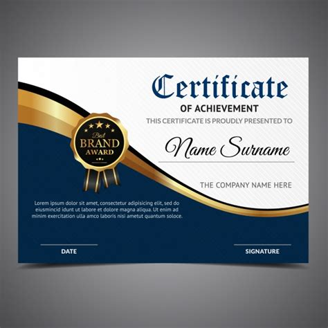 White Sertifikat blue and white certificate of achievement vector free