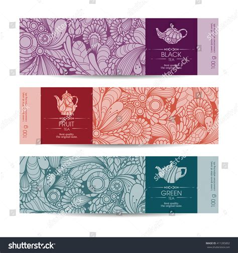 banner label template vector set templates packaging tea label stock vector