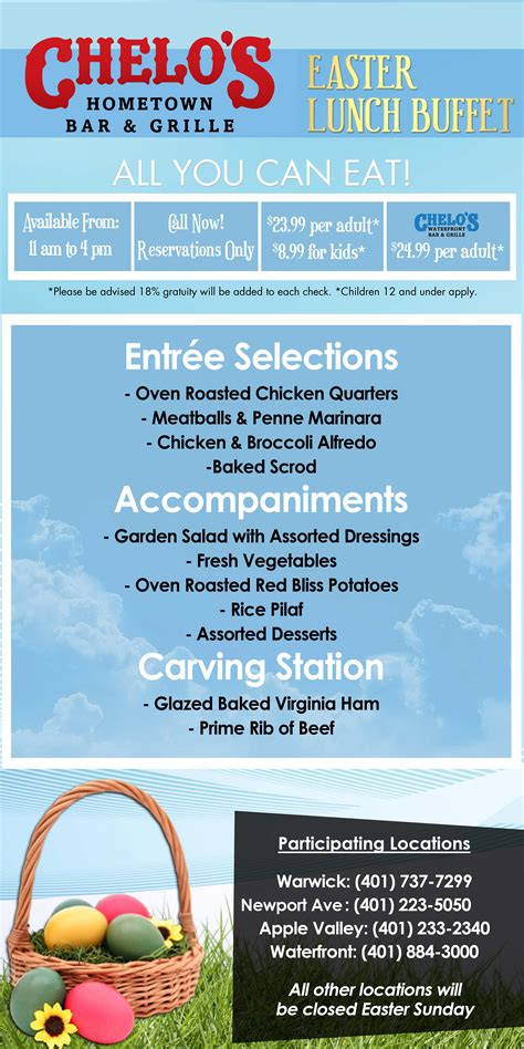 easter lunch buffet menu goingout chelo s bar grille 8 locations event