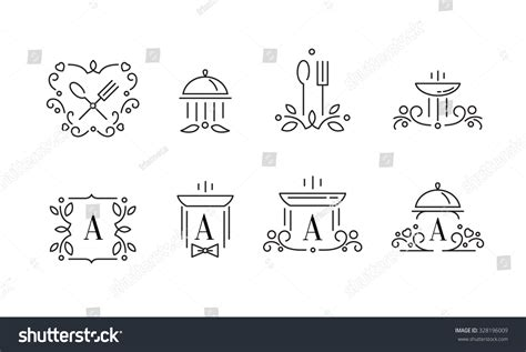 Elegant Design Logo Template Outline Food Signs For Restaurant And Cafe Stock Vector Food Signs Template