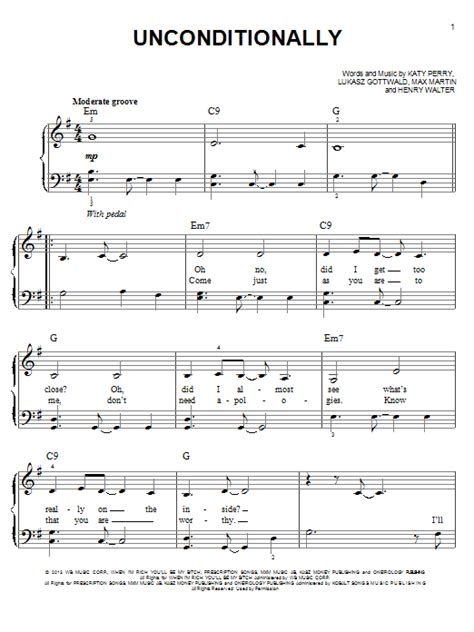 piano tutorial unconditionally unconditionally sheet music by katy perry easy piano