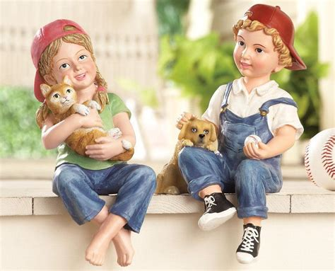 kids children ledge shelf sitter garden statues yard art