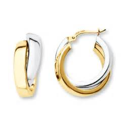 gold hoop earings jared crossover hoop earrings 14k two tone gold 23 69mm