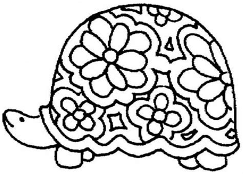 Floral Shell Turtle Coloring Page  Sun sketch template