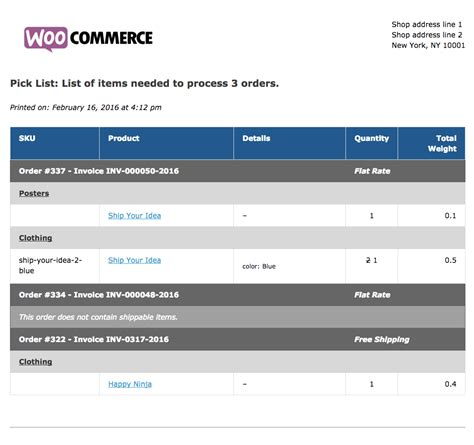Woocommerce Print Invoices Packing Lists Woocommerce Docs Warehouse Ticket Template