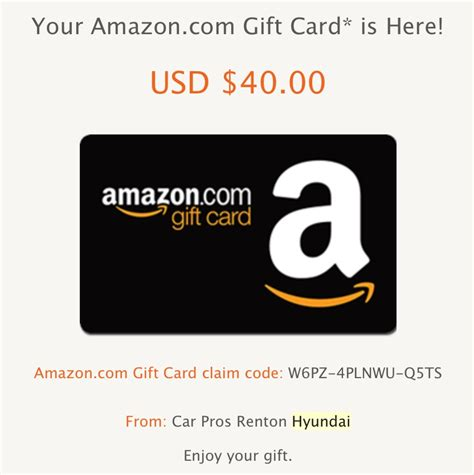 Hyundai 40 Gift Card - gratis 40 en amazon con la prueba de manejo de un auto hyundai s 250 per barat 237 simo