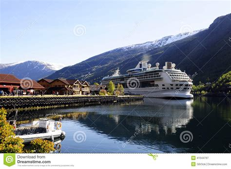 Small Vacation House Plans cruise ship moored fjord norway editorial photography