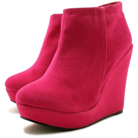 lyla suede style wedge heel platform ankle boots pink
