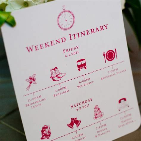 wedding weekend itinerary template custom wedding itinerary card wedding