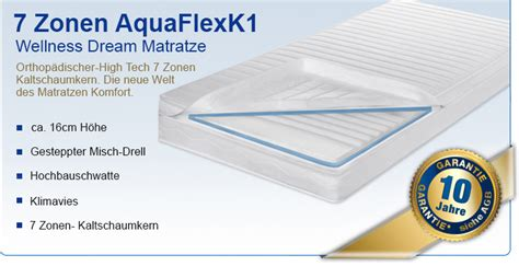 3 zonen matratze 7 zonen aquaflex k1 matratzen 90 x 200