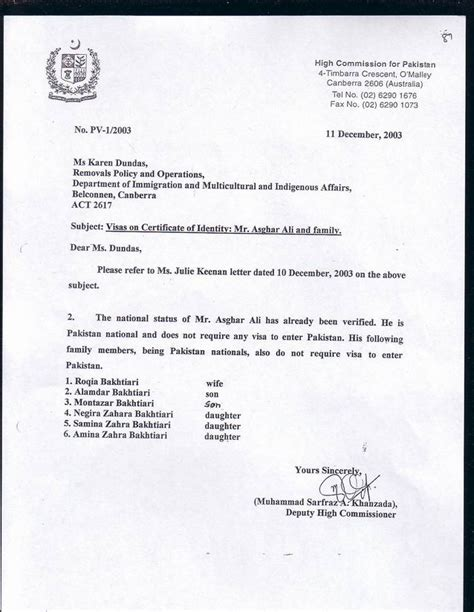 Invitation Letter For Visa Application For Pakistan Afghani Does It Matter On Line Opinion 10 4 2006