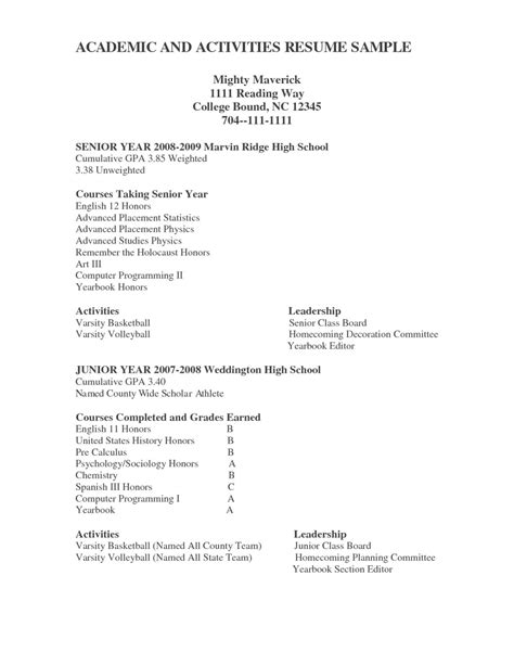 college resume sles for high school senior college resume template 2017 resume builder