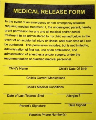 medical release forms template business