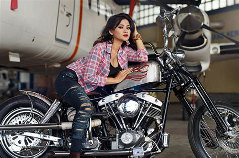 photo girls motorcycle formal shirt jeans