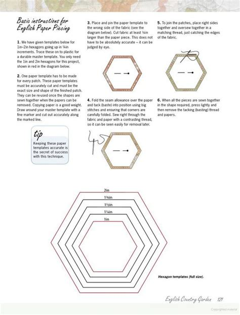 hexagon templates for paper piecing hexie template tecnicas templates