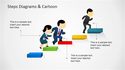 leadership cartoons for powerpoint presentations slidemodel 3d steps ladder template for powerpoint slidemodel