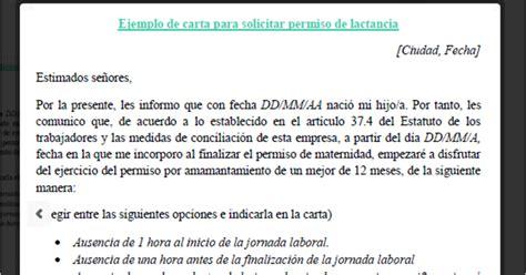 permiso por paternidad 2016 mexico formato carta para solicitar permiso de lactancia