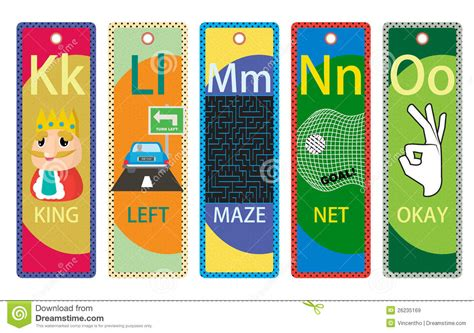 printable educational bookmarks alphabet educational bookmarks k o for children royalty