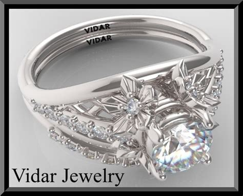 white sapphire wedding ring set   Vidar Jewelry   Unique