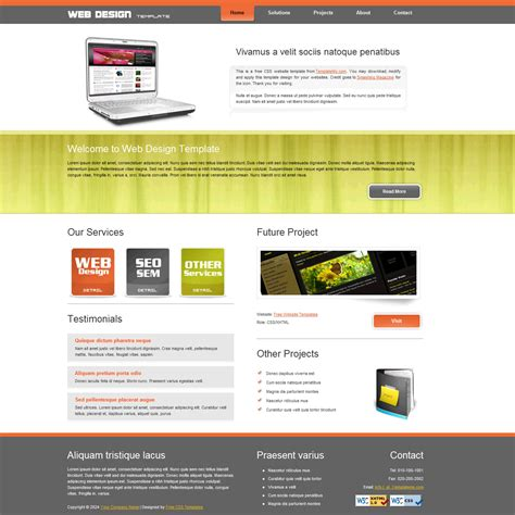 free homepage for website design template 109 web design