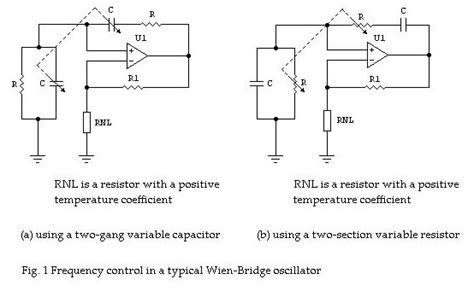 oscillator variable capacitor wien bridge oscillator