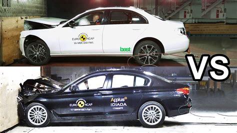 Bmw 1 Series Crash Test by 2017 Bmw 5 Series Vs 2017 Mercedes E Class Crash Test