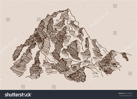 rocky mountain scenery landscape engraving etching stock