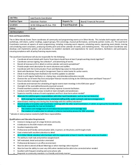Duties Of An Event Planner by Sle Event Coordinator Description 10 Exles In Pdf