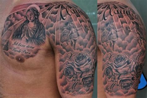 religious chest tattoos for men christian images designs