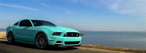 tiffany blue mustang vehicle wraps paint protection vehicle customs installations