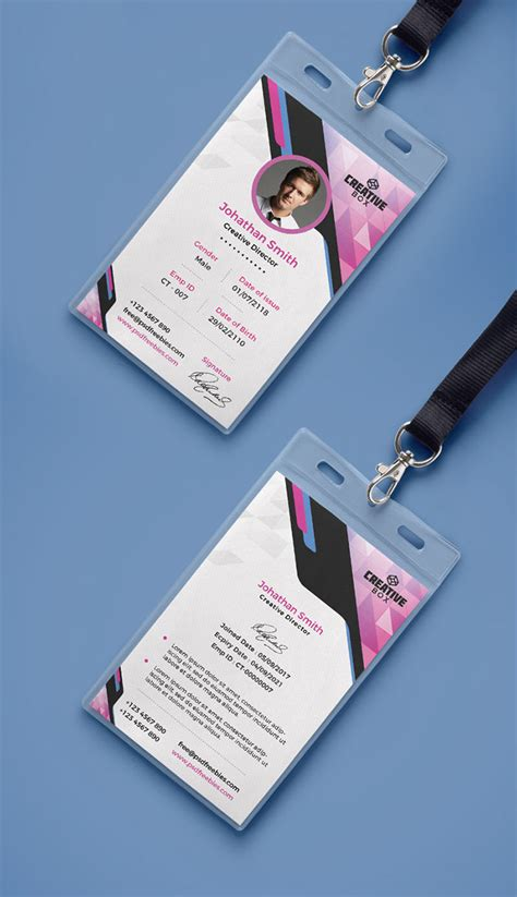 id card design jpg 30 best id card and lanyard templates psd vector