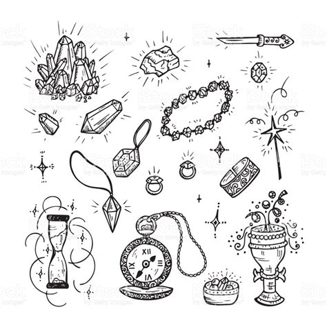 Doodle Magic Vector Set Precious Treasures