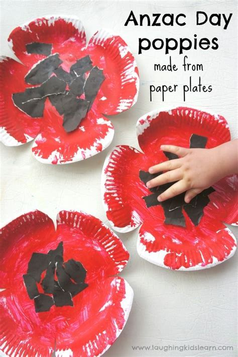 remembrance day crafts for poppy craft poppies and paper plates on