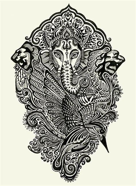 ganesha tattoo black and white ganesha black white arts illustrations pinterest