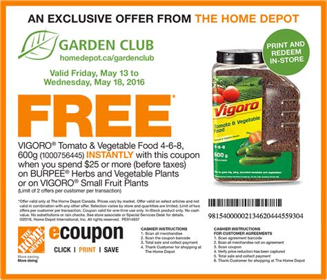 home depot canada garden club coupon canadian freebies