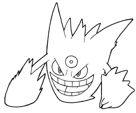 pokemon coloring pages gengar 094 mega gengar by realarpmbq on deviantart