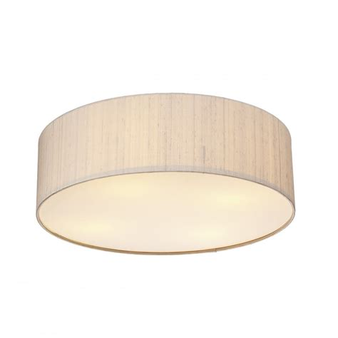 Low Energy Flush Ceiling Lights Dar Silk Collection Paolo 4 Light Low Energy Flush Ceiling Fitting With A Taupe Silk Shade