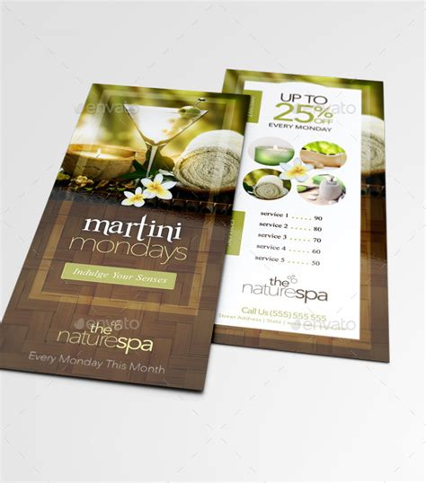 4 x 9 rack card with bleed psd template spa rack card business card template by thatdesignerchic