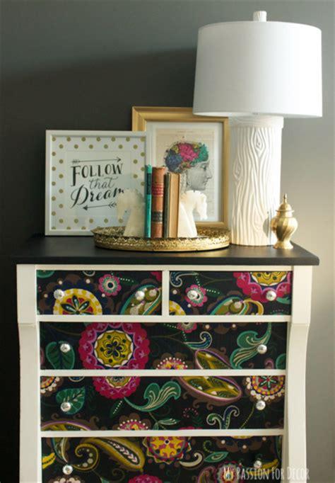fabric decoupage dresser hometalk dresser makeover using fabric and mod podge