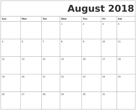 blank calendar october 2018 printable 1 month calendar template