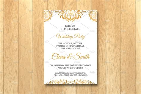 Wedding Invitation Card Template Invitation Templates Creative Market Invitation Card Template