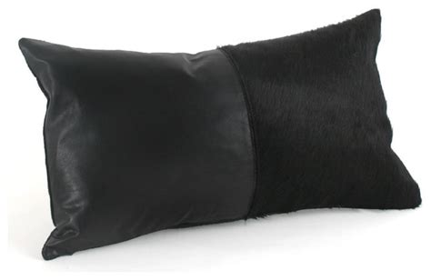 Pillows On Black Leather by Black Leather Cowhide Pillow