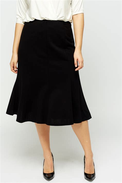 black swing skirt black elasticated midi swing skirt just 163 5