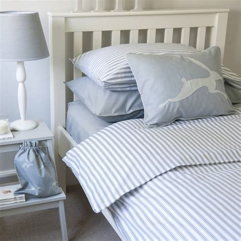 blue ticking comforter ticking stripe blue grey duvet cover by harriet hare