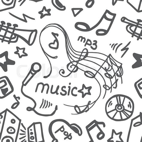 musical doodle free mp3 doodle symbols seamless pattern vector