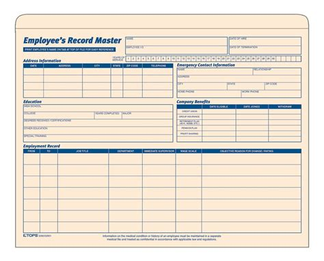 Employee Records Employee Record Master File Manila Tag 20 Ea Pk